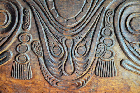 Antique Carved Wood Bas Relief of Polinesian Art photo
