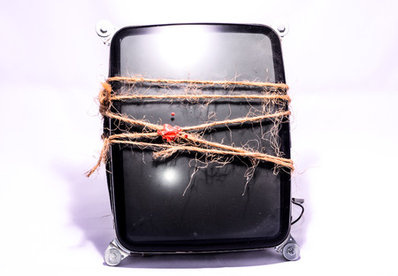 crt: Vintage Cathode Ray Tube CRT Wrapped with Twine