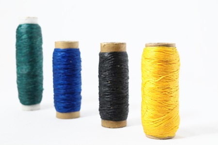cable knit: Roll of Twines isolated on a White Background