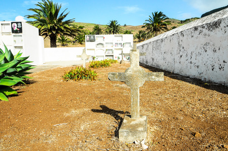 christian halloween: Typical Spanish Mediterrean Cemetery in La Gomera Canary Island Stock Photo