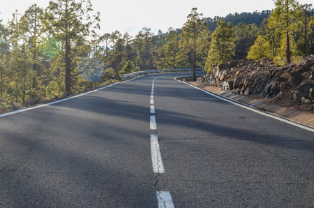 Road on Cloudy Day in El Teide National Park Tenerife Canary Islands Spain photo