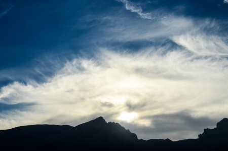 sihouette: Sunset Behind Guimar Mountains in Tenerife Canary Island