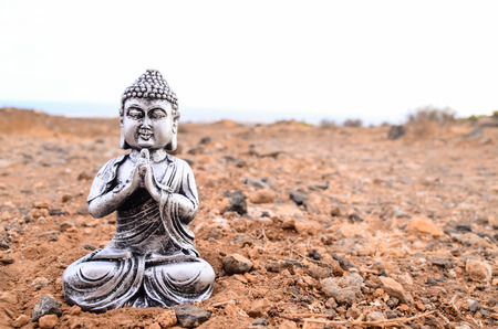 statuette: One Ancient Buddha Statue Abandoned in the Desert