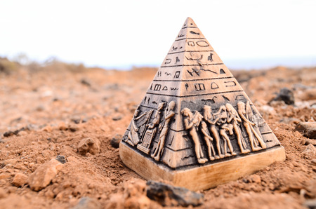 chephren: Egyptian Pyramid Model Miniature in the Rock Desert