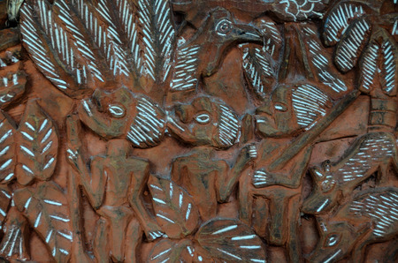 Antique Carved Wood Bas Relief of Polinesian Art