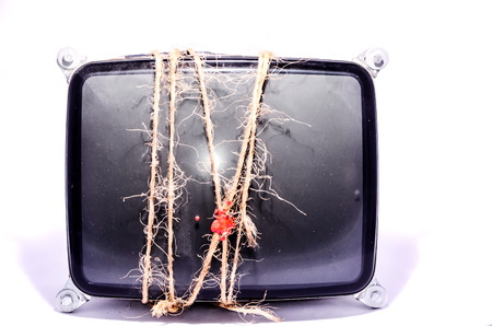 e waste: Vintage Cathode Ray Tube CRT Wrapped with Twine