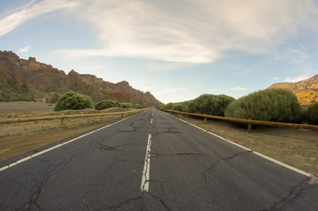 spanish landscapes: HDR Desert Lonely Road Landscape in Volcan Teide National Park, Tenerife, Canary Island, Spain