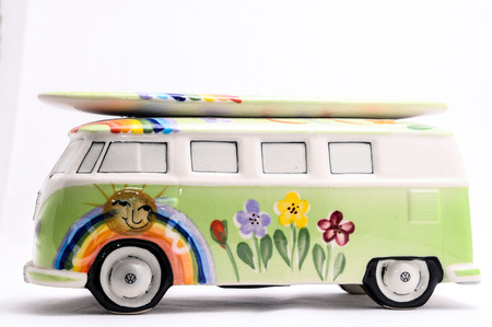 60s hippie: Van with a Surf Board on White Background