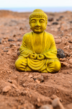One Ancient Buddha Statue Abandoned in the Desert photo