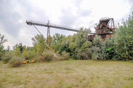 sand quarry: Abandoned Industrial Gravel Quarry and Sand Stone Refinery