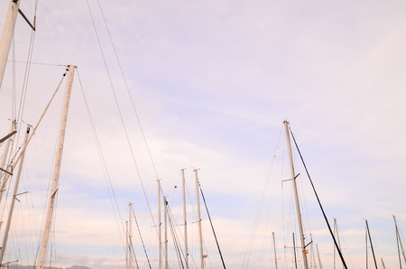 masts: Silhouette Masts of Sail Yacht in a Marine