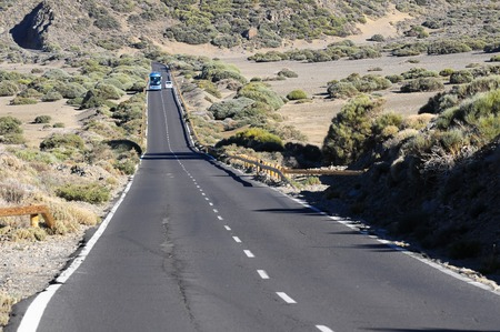 canary island: Desert Lonely Road Landscape in Volcan Teide National Park, Tenerife, Canary Island, Spain