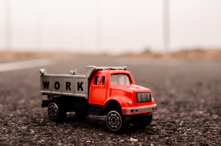 Model of the Truck on an Asphalt Road photo