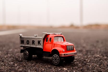 Model of the Truck on an Asphalt Road photo