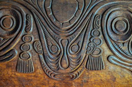Antico Legno Intagliato Bassorilievo di Art polinesiano