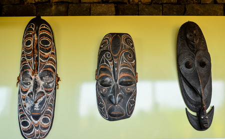 papua new guinea: Typical Wooden Face Mask from Papua New Guinea