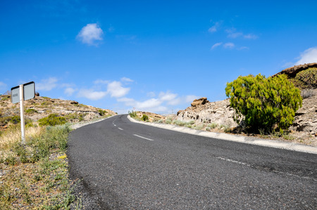 on the lonely road: Lonely Road in the Desert Tenerife Canary Islands