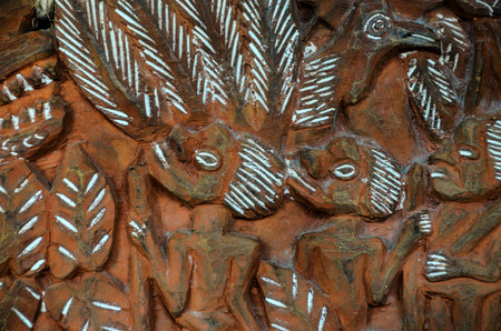 bas relief: Antique Carved Wood Bas Relief of Polinesian Art