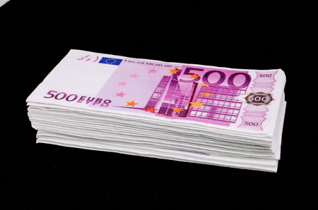 copies: Euro Pile Banknotes Copies over a Black Background