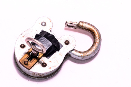 Old Antique Vintage Padlock on a White Background photo
