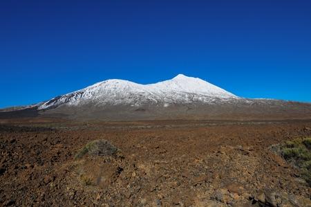 spanish landscapes: Snow Desert Landscape in Volcan Teide National Park, Tenerife, Canary Island, Spain