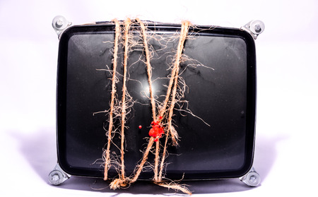 cathode ray tube: Vintage Cathode Ray Tube CRT Wrapped with Twine