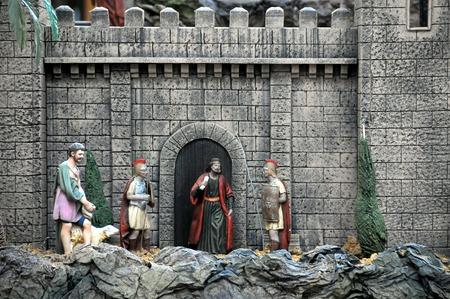 statuette: Traditional European Statuette in a Christmas Crib Nativity Scene Stock Photo