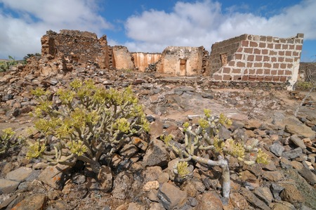 Abandoned house in the desert in Lanzarote Spain photo