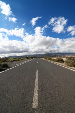 on the lonely road: Lonely Road in the Desert in Tenerife Canary Islands