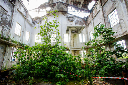Abandoned Old Ruined Industrial Plant in Veneto Italy photo