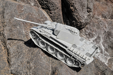 turret: Old Ancient Vinatge Figurine Model Gray Tank From World War