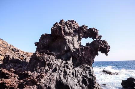 stone volcanic stones: Basaltic Lava Formation near the Ocean Coast