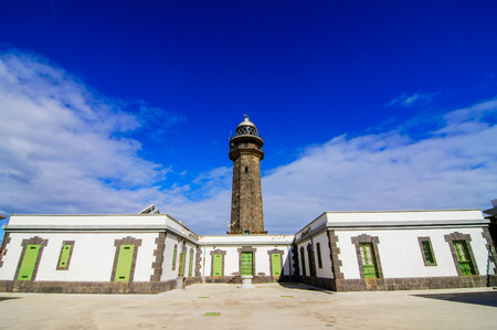 guiding light: Lighthouse at the Western Place of the Canary Islands Faro de Orchilla point of the prime meridian until 1894 Stock Photo