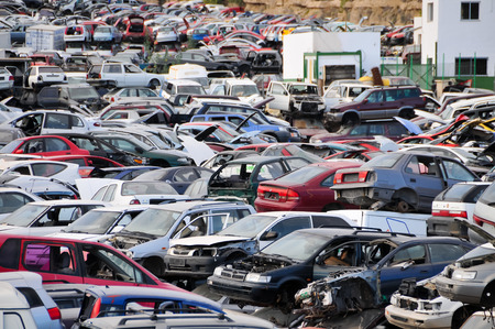 pile engine: Scrap Yard With Pile Of Crushed Cars in tenerife canary islands spain