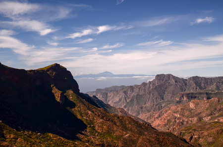 volcan: View of El Teide Volcan in Tenerife From Gran Canria Mountains Canary Islands Spain