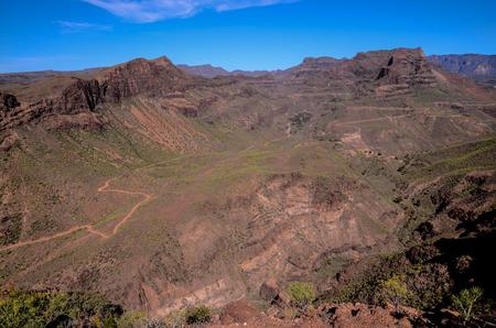 route desert: Vue a�rienne d'une route du d�sert dans les �les Canaries