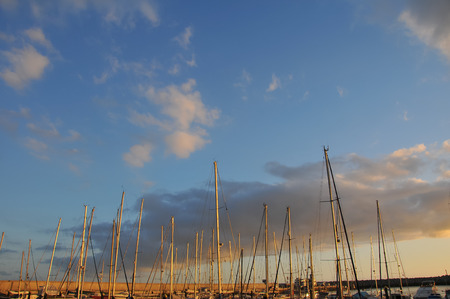 masts: Sail Boats Masts In Port With Sunset Background. Stock Photo