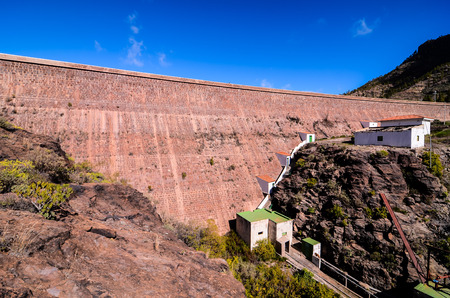 Artificial Lake Water Dam in the Canary Islands Gran Canaria photo