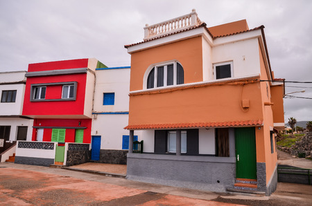 flat roof: Typical Colored Colonial Spanish Building with Flat Roof