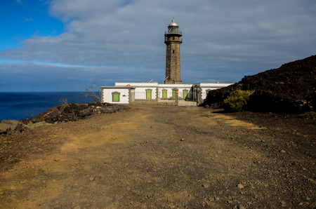 the meridian: Lighthouse at the Western Place of the Canary Islands Faro de Orchilla point of the prime meridian until 1894 Stock Photo