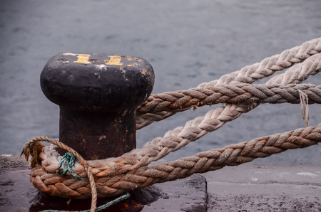 Picture of an Old Vintage Naval Rope Stock Photo