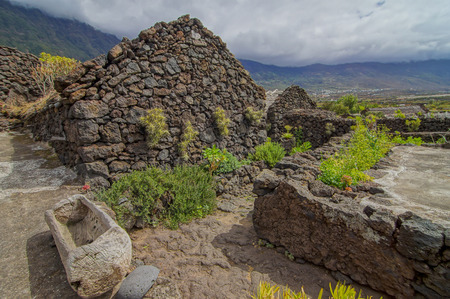 medieval: Exterior of Abandoned Stone Made Houses In a Medieval Village El Hierro Island Spain