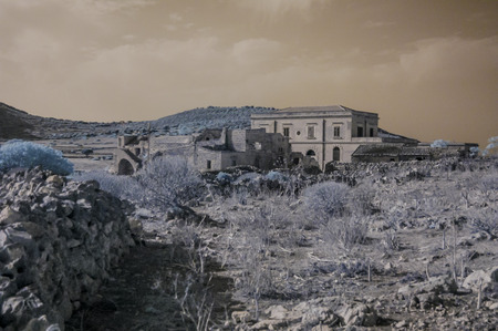 levanzo: Infreared Dry Landscape Countryside in Egadi Islands Sicily Italy