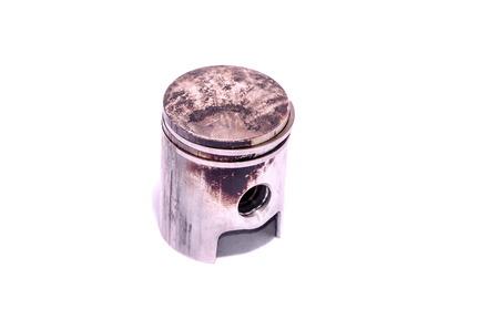 connecting rod: Old Worn Engine Piston Isolated on White Background