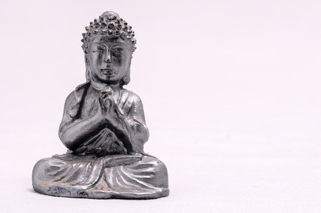 karnataka culture: Oriental Asian Statue on a White Background Stock Photo