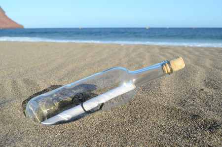 castaway: Message in a Bottle on the sand Beach
