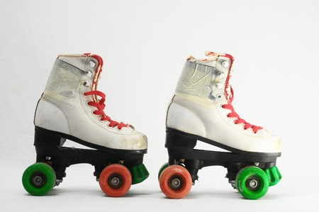 roller skate: Used Vintage Consumed Roller Skate on a White Background