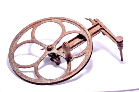 pulley: Old Vintage Manual Pulley on a White Background