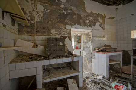 abandoned house: Interior Of An Abandoned House in Canary Islands Spain