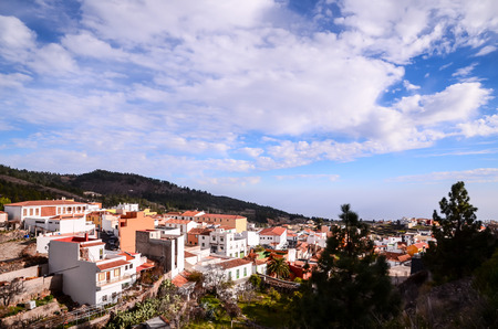 Village of Vilaflor among a forest of pines in the mountain at tenerife in the Spanish Canary Islands.